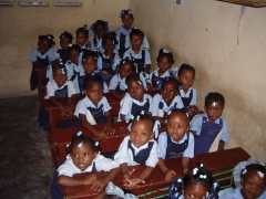 An orphanage classroom...