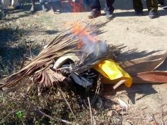 Voodoo worship paraphernalia voluntarily burned...